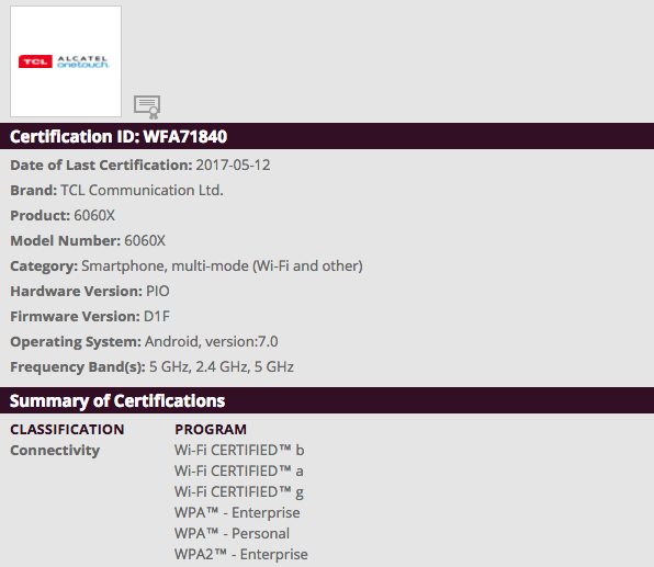 Alcatel Idol 5 certified by Wi-Fi Alliance - MobileXpose %